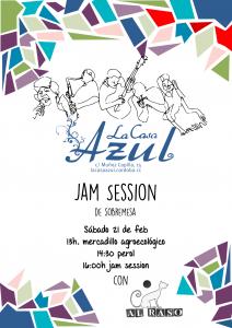 Cartel Jam Session en la casa azul
