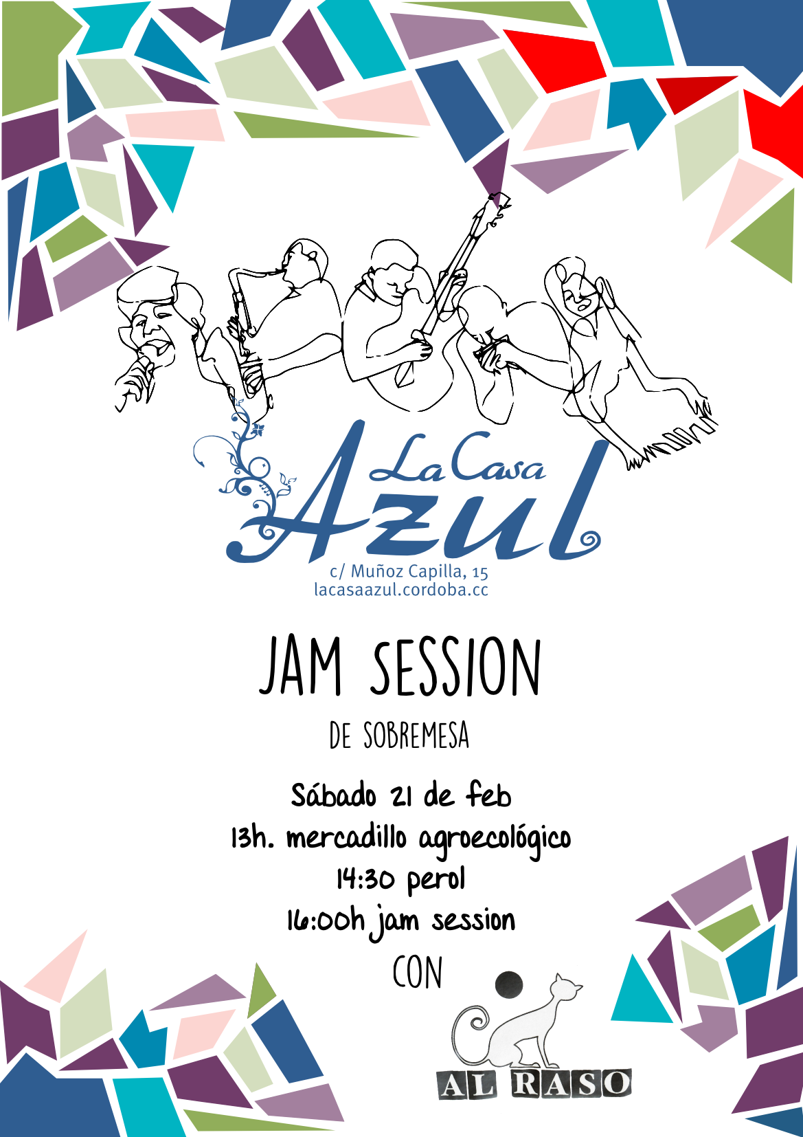 Cartel Jam Session en la casa azul