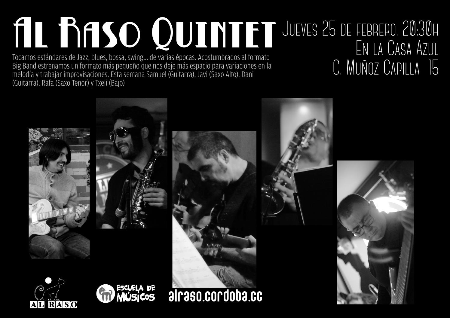 Concierto Al Raso Quintet el 15 de febrero a las 20:30